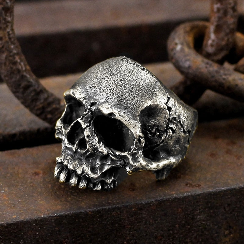 Vintage Rugged Skull Biker Ring