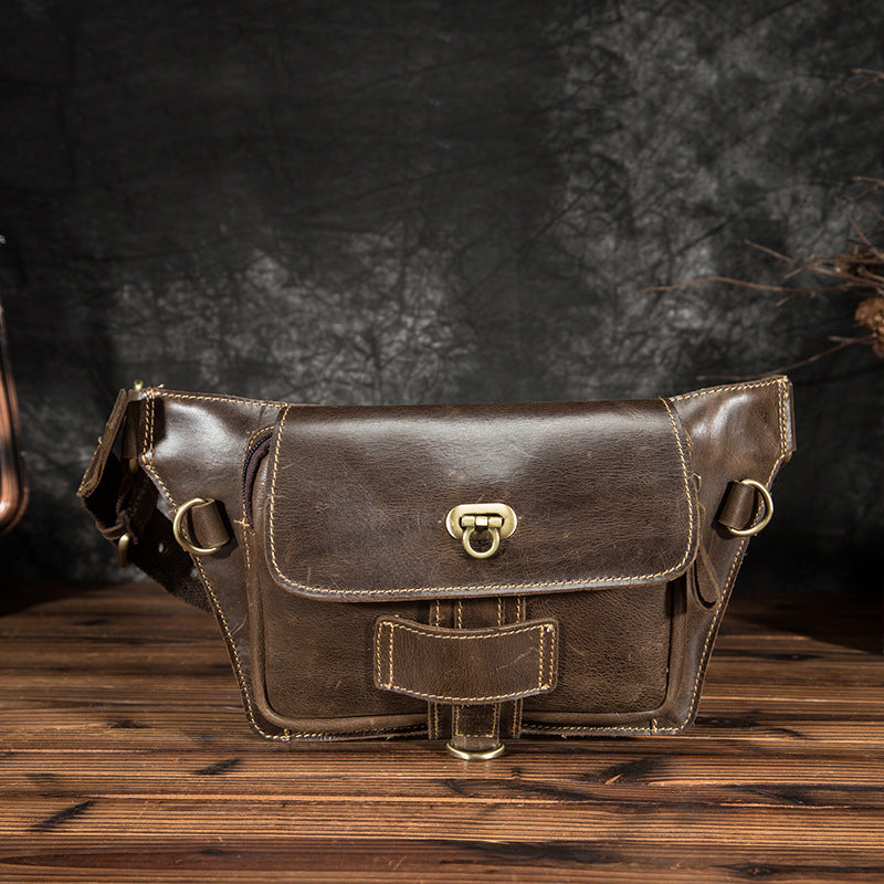 Crazy Horse Leather Casual Fashion Fanny Waist Bag