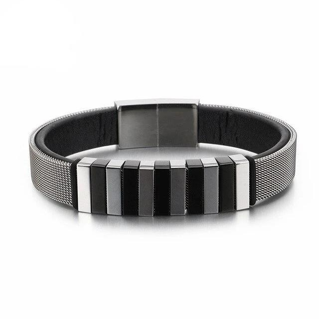 Wrap Leather Steel Bracelet