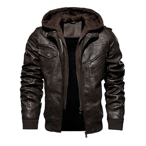 Removable Hood PU Leather Jacket for Riders