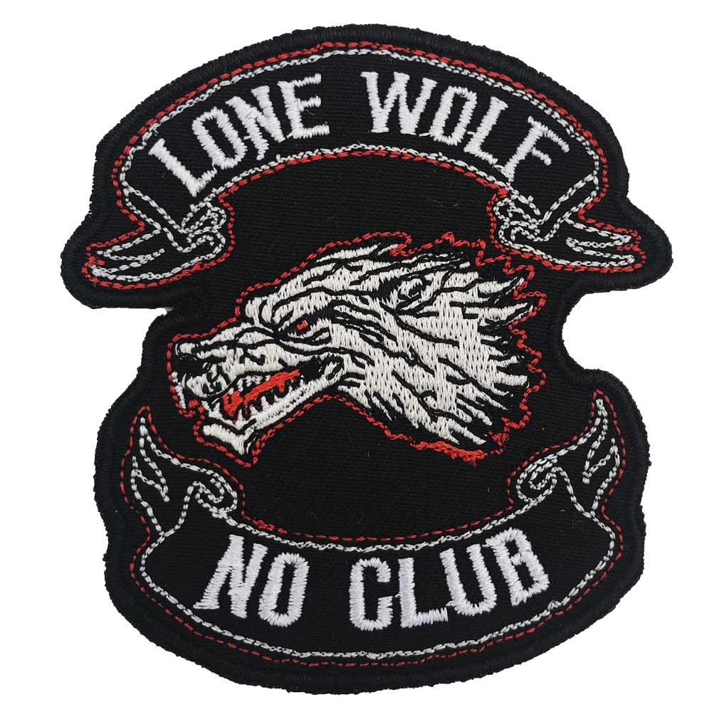 LONE WOLF NO CLUB  Embroidered  Biker Patches