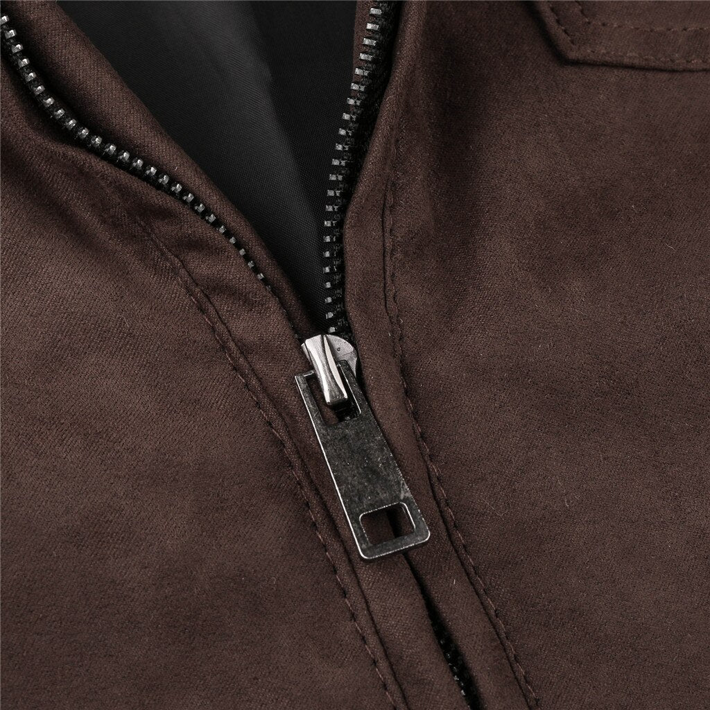 Vintage Zipper Stand Collar Imitation Leather Jacket