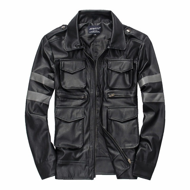 Motorcycle Zipper Vintage Multi Pocket Design Leather Jacket