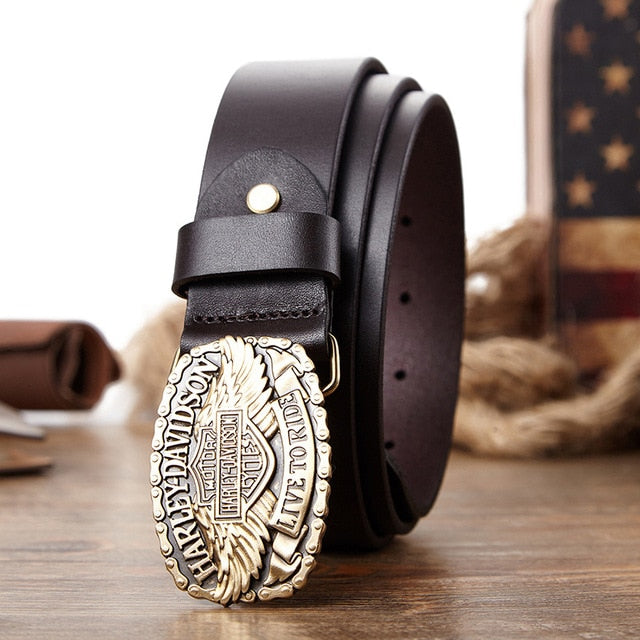 H-D Logo Buckle Genuine Leather Belt
