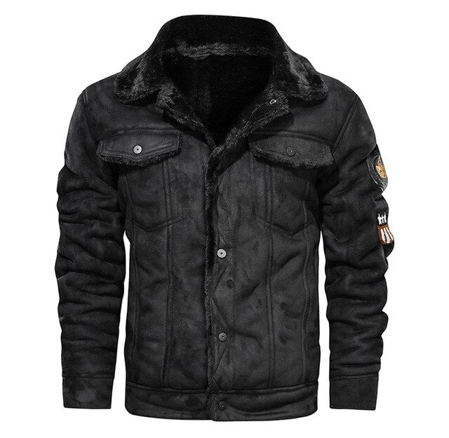 Thick Fleece Fur Collar Patch Work Leather Jackets