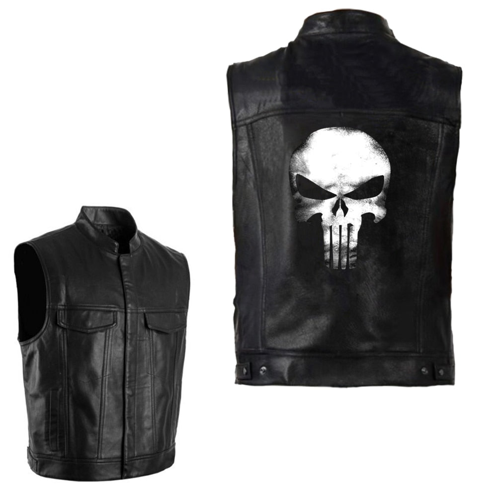 Black PU Leather Swag Skull Vest