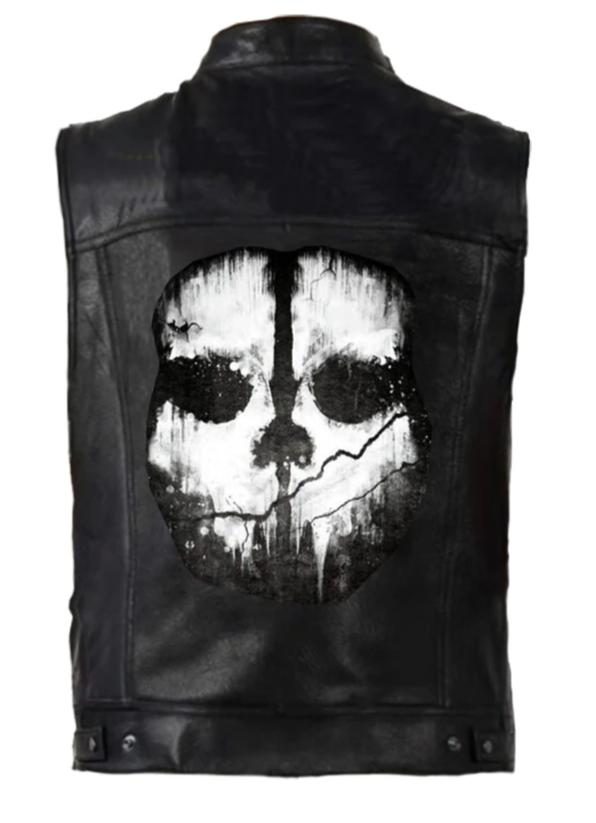 Black PU Leather Fade Skull Vest