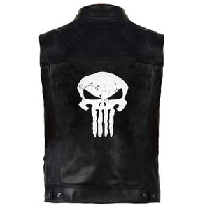 Black PU Leather Punisher Skull Vest