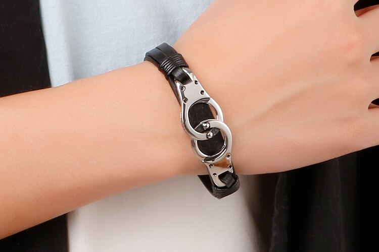 Steel Gold/ Silver Handcuff Leather Wrap Bracelets