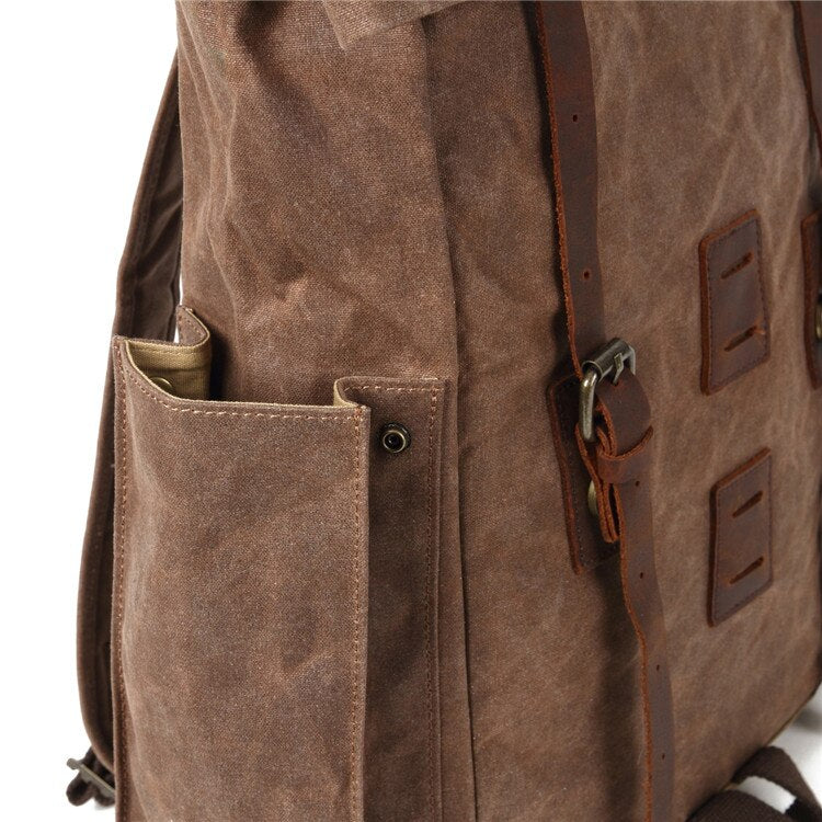 Retro Travel Canvas Leather Backpack