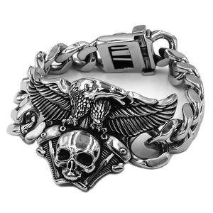 Engine Skull Eagle Stainless Steel Biker Bracelet