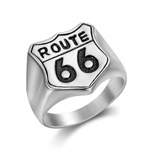 Steel Route 66 Motorcycle Rider Ring