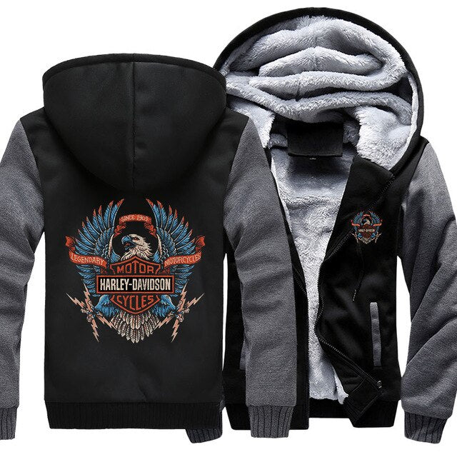 H-D Eagle Logo Zipper Fleece Hoodie