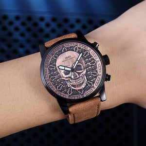 Vintage Bronze Skull Leather Strap Watch