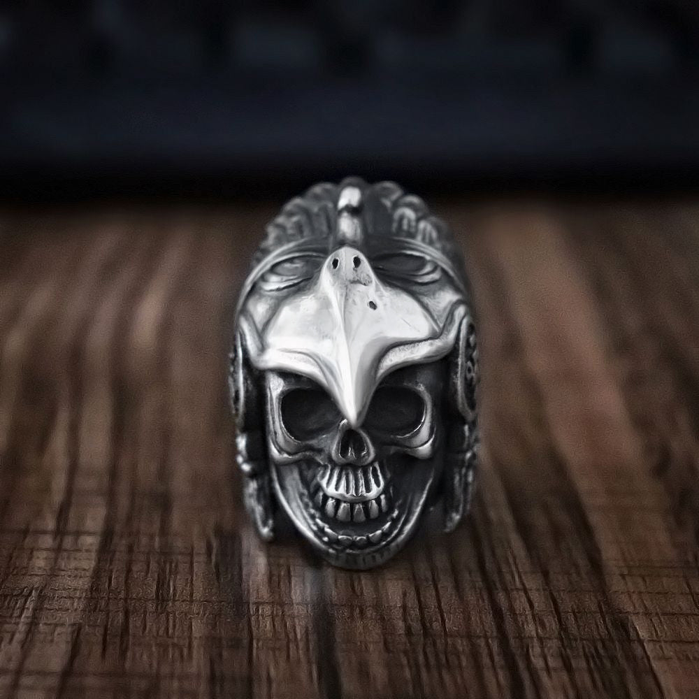 Steel Vintage Indian Eagle Warrior Skull Ring