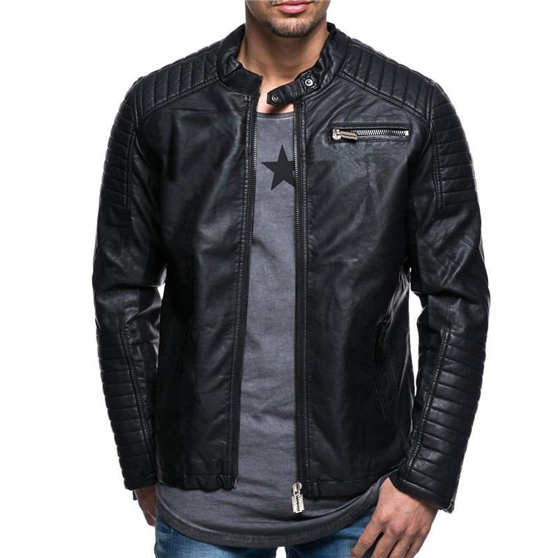 Faux PU Leather Black  Motorcycle Jacket
