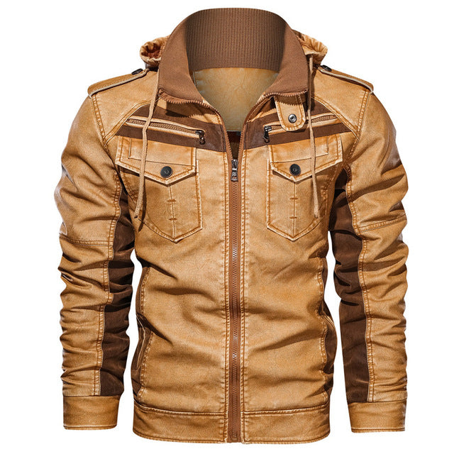 PU Leather Removable Hood Jacket for Motorcycle Rider