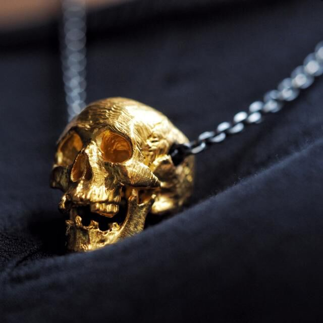 Unique High Quality Gold Color Disease Skull Pendant Necklace