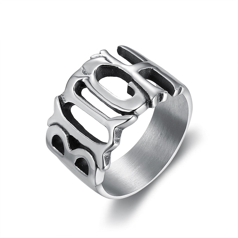 Steel Retro Silver Color Letters BITCH Ring