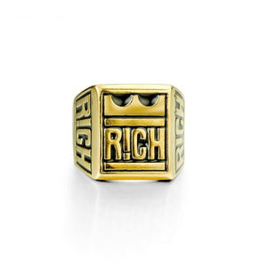 RICH Letter With Crown Steel Ring