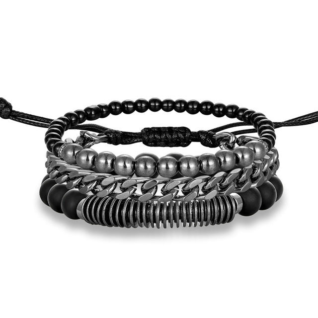 Genuine Leather & Steel Chain Multiplayer Vintage Bracelet