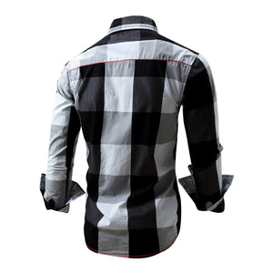 Casual Long Sleeve Slim Fit Striped Cotton Shirts