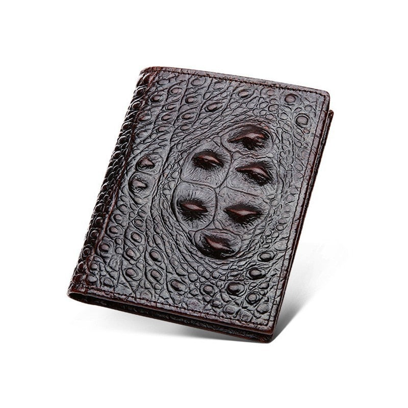 Genuine Leather Crocodile Embossed Vintage Designer Wallet