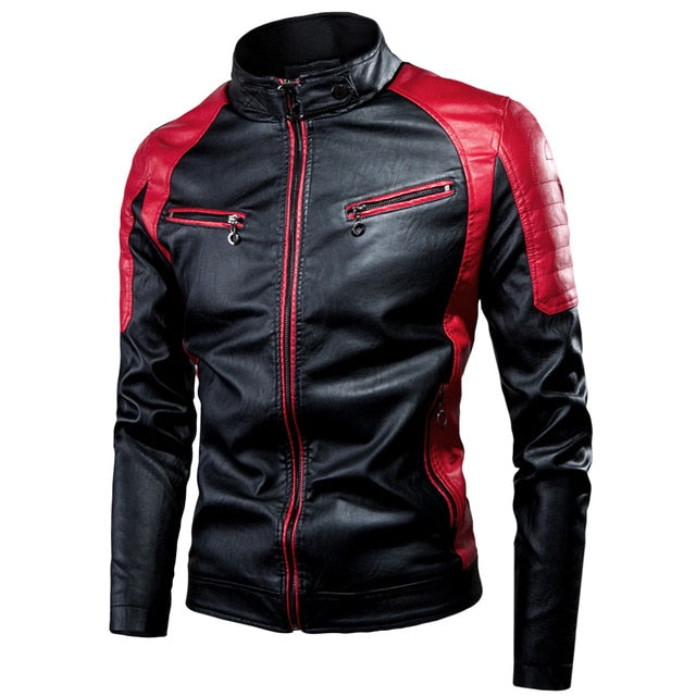 Two Tone Color Thick Fleece Stand Collar Leather Jackets for Riders