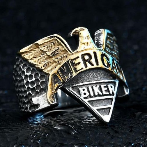 Steel soldier American Eagle Biker Ring