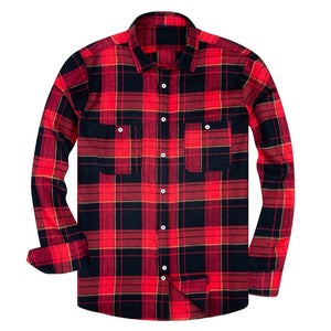 Long Sleeve High Cotton Plaid Shirt