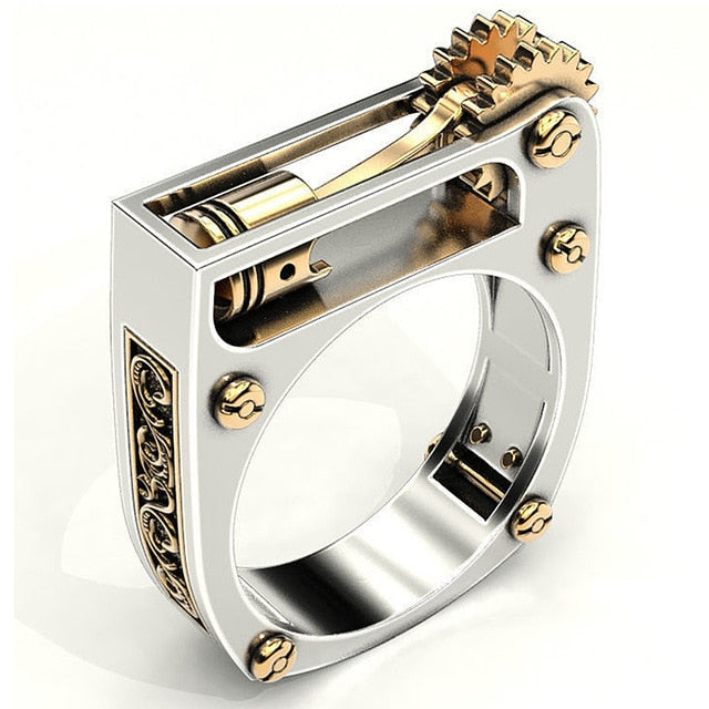 Mechanical Gear Piston Art Biker Ring - GIVEAWAY !