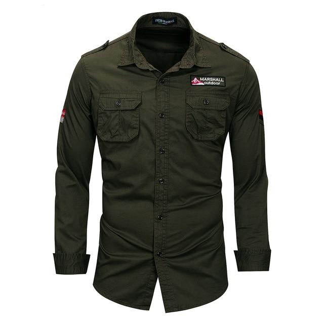 Cotton Military Long Sleeve Shirt
