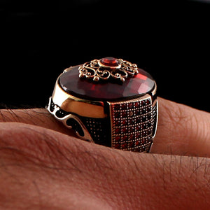 925 Sterling Silver Red Zircon Stone Ring