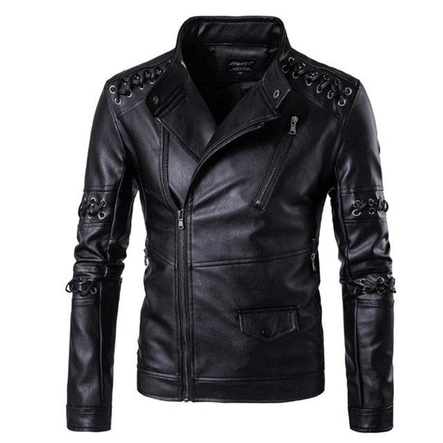 Braided Rope Design Motorcycle Leather Jacket