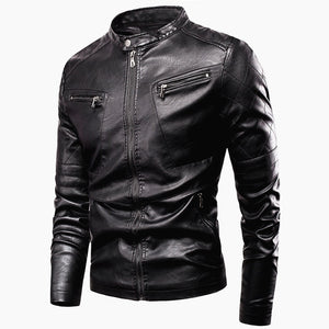 Casual Vintage Leather Jacket for Motorcycle Riders