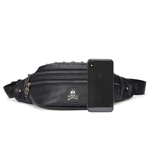 Skull Rivet Fanny Designer Leather Waist Bag