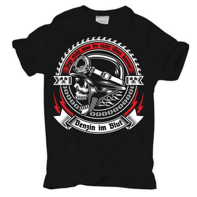 Gasoline In The Blood Motorcycle Skull T Shirt
