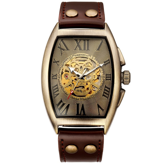 Skull Dial Automatic Mechanical Leather Strap Watch