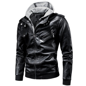 Hooded PU Leather Punk Style Jacket