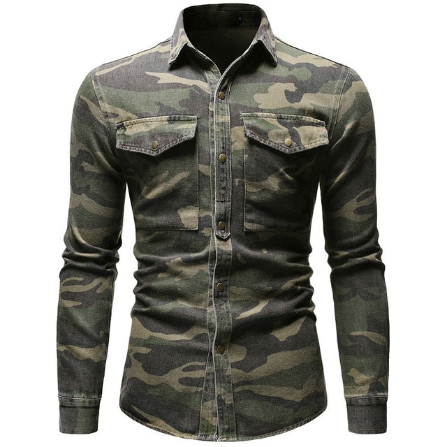 Camouflage Denim Army Green Long Sleeved Loose Jeans Shirts