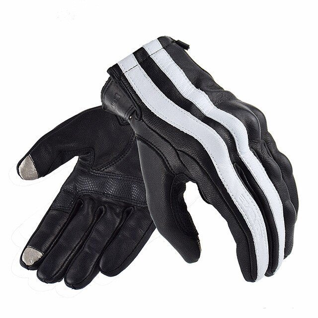 Stripe Riding Genuine Leather Motorcycle Gloves