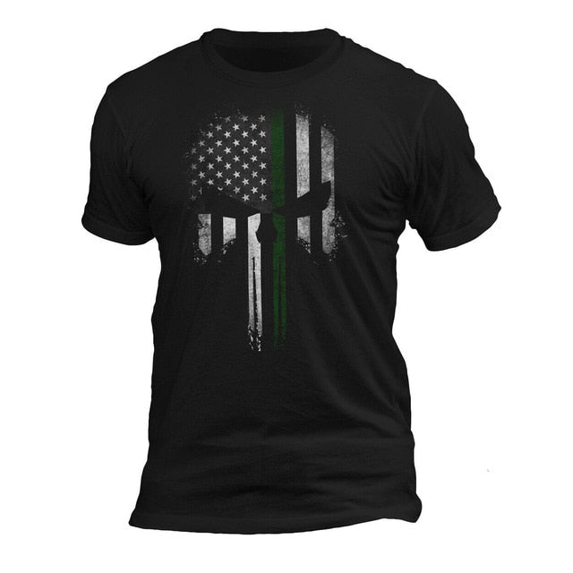 USA Patriotic Army Military Punisher Skull T-Shirt