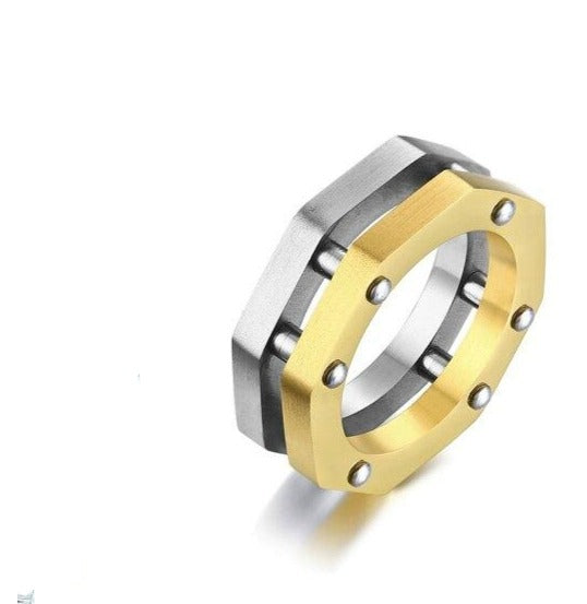 Two Tone Octagon Nut Brushed Moto Lover Ring
