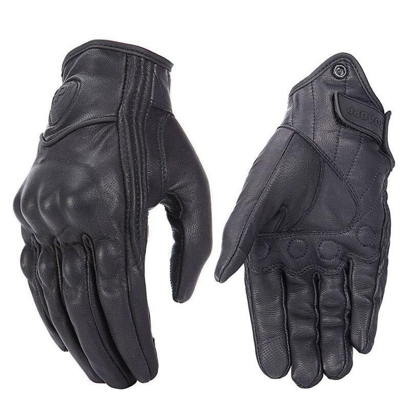 Retro Motorcycle Perforated Genuine Leather Gloves