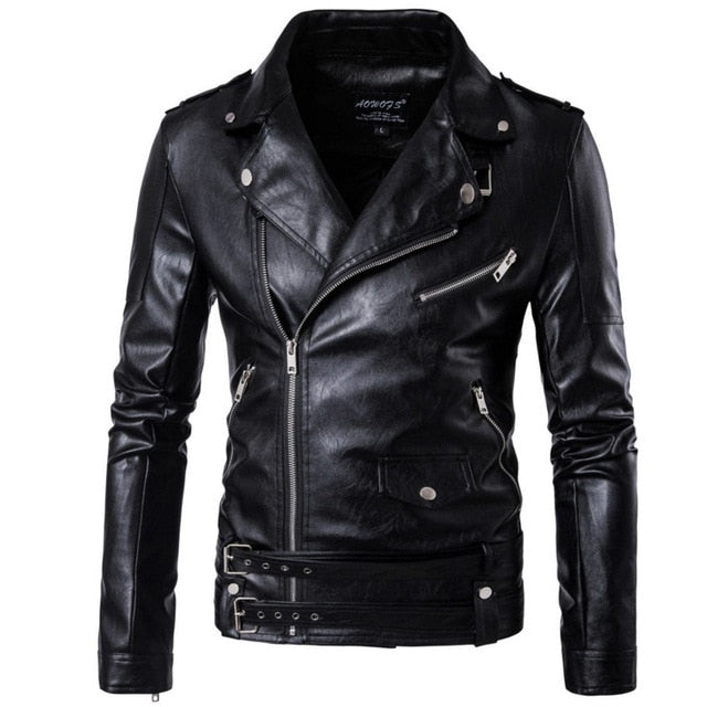 Turn Down Collar PU Leather Belted Motorcycle Jacket