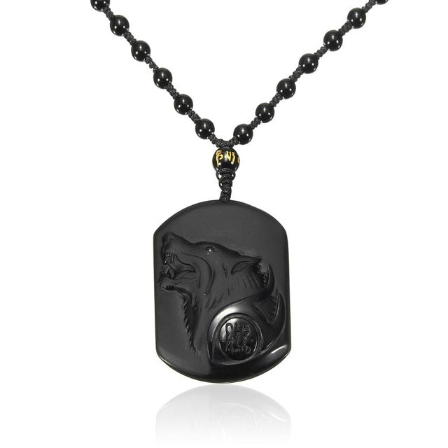 Black Obsidian Carving Wolf Head Pendant Necklace