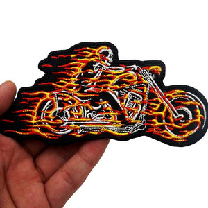 Fire Skull Motorcycle Rider Embroidered Patch