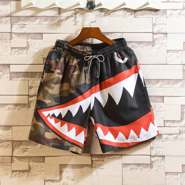 Casual Shark Design Colorful Sweat Shorts