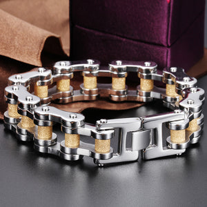 Golden Black Plated Stainless Steel Motorcycle Chain Bracelet
