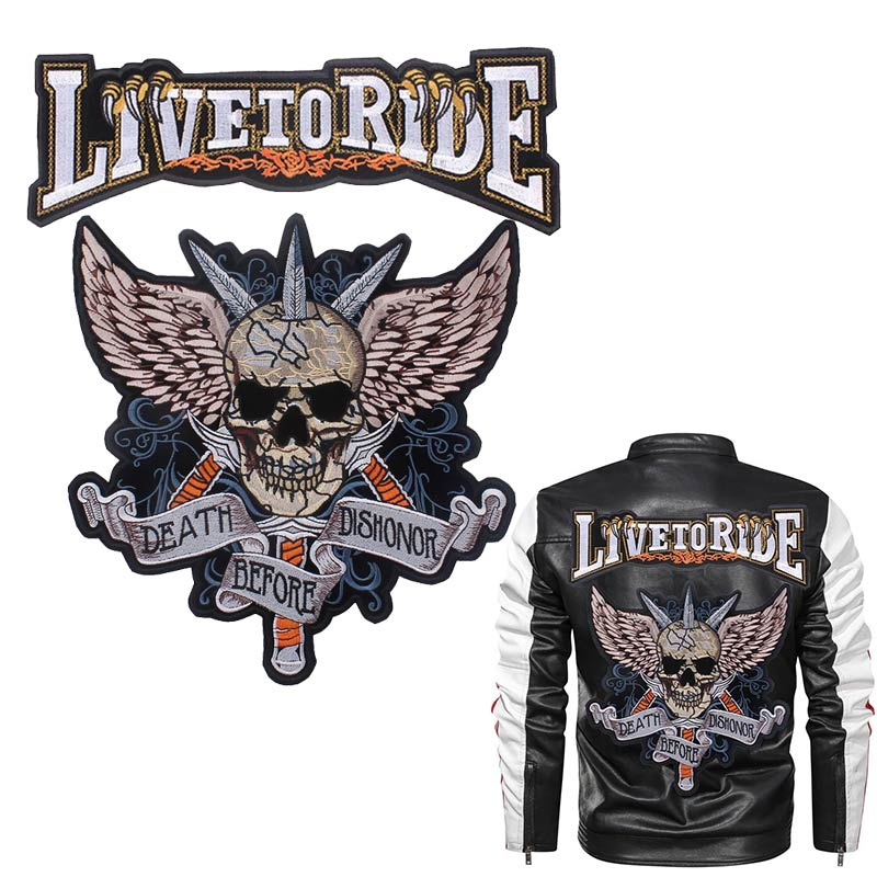 Moto Skull Motorcycle Embroidered Patches For Clothing